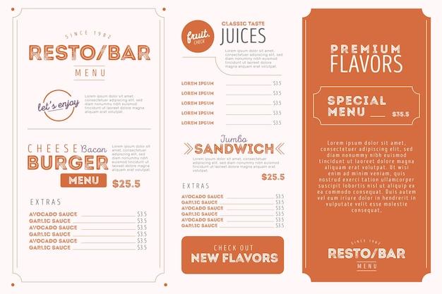 Format horizontal du menu numérique