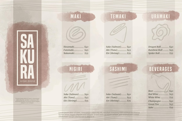 Format horizontal du menu sushi house