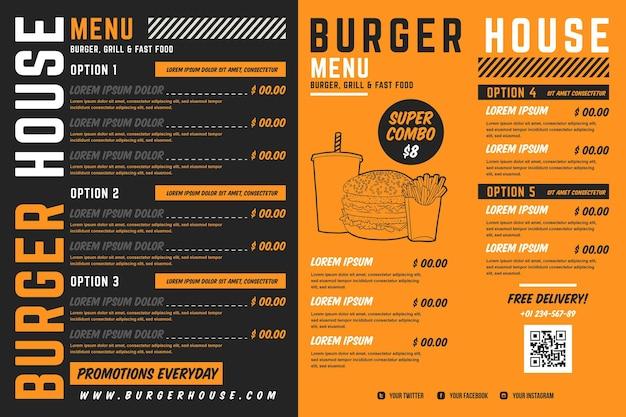 Format horizontal de menu de restaurant numérique