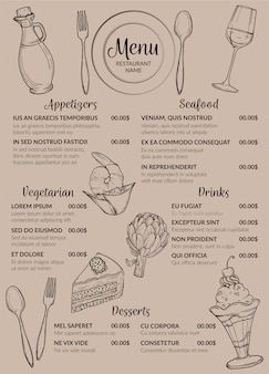 Format vertical de conception de menu de restaurant