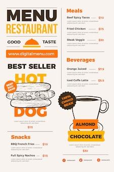 Format vertical de menu de restaurant numérique