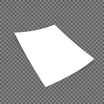 Formater le papier avec des ombres sur fond transparent.