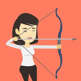 Formation d'archer avec l'illustration vectorielle de l'arc.
