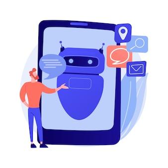 Formation au réseau de neurones artificiels. traitement d'algorithme. reconnaissance vocale, vérification d'identité, traitement des informations. cyborg humanoïde. illustration de métaphore de concept isolé de vecteur.