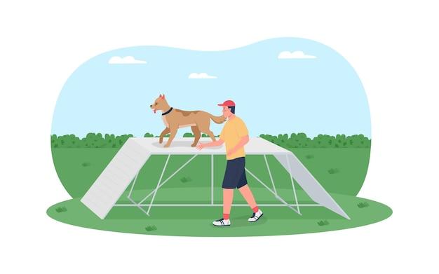 Formation de chien sur affiche de bannière web 2d de course d'obstacles