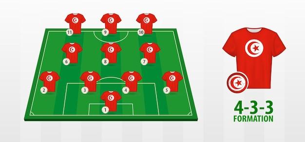 Formation de l'équipe nationale de football de tunisie sur le terrain de football.