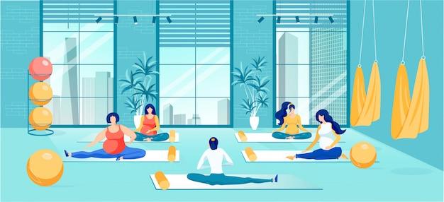 Formation des femmes enceintes sur les cours de yoga cartoon