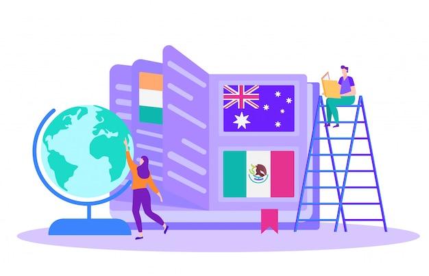Formation en ligne autour du monde. femme près du globe.