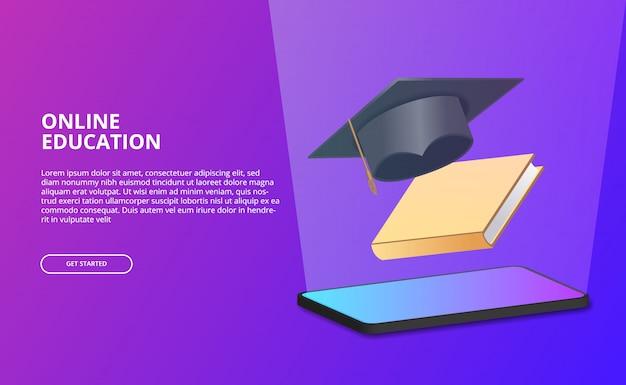 Formation en ligne avec illustration du chapeau de graduation flottant, livre avec téléphone