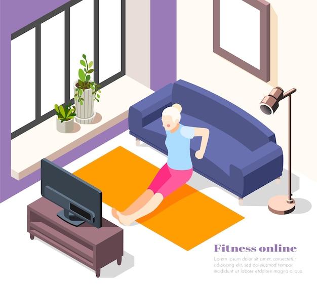 Formation en ligne à la maison illustration isométrique avec une femme âgée faisant des exercices sur l'isolement de quarantaine