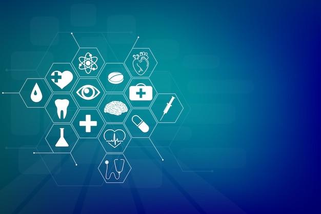Formation médicale avec un espace vide. modèle d'icône de soins de santé, bannière de concept d'innovation médicale. coeur humain, genou, organe cérébral. symboles d'anatomie, seringue. cardiologie, dessin au trait des yeux. graphiques vectoriels