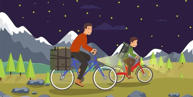 Formation de nuit vecteur plat sur le vélo de montagne.