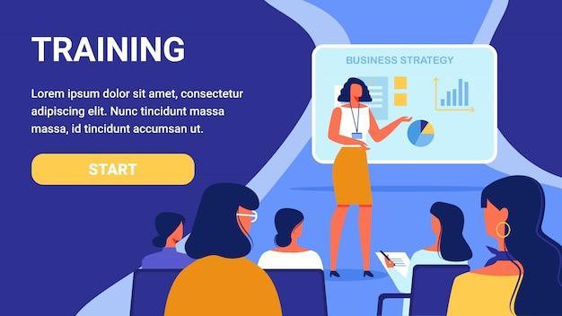 Formation pour femme. stratégie d'entreprise du cours.