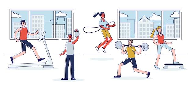 Formations dans le concept de gym. groupe de personnes s'entraînent dans la salle de gym.