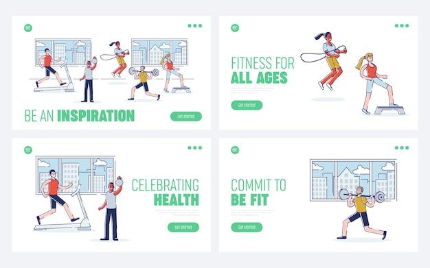 Formations dans le concept de gym. page de destination du site web.