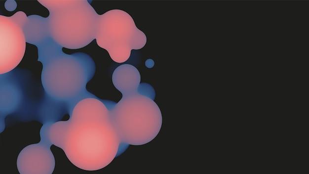 Forme 3d abstraite de metaball fluide avec des boules violettes