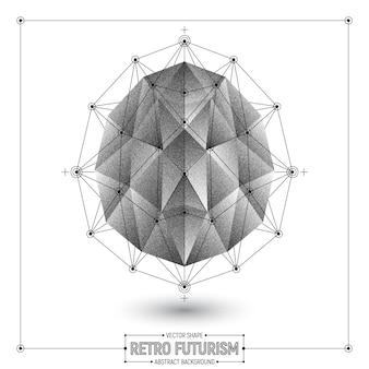 Forme 3d abstraite polygonale de vecteur futuriste rétro