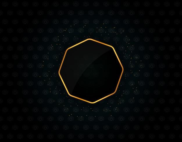 Forme abstraite brillante de bordure dorée hexagonale avec des particules