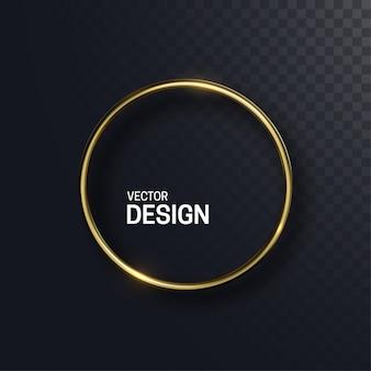 Forme abstraite de cercle doré isolé sur fond transparent noir