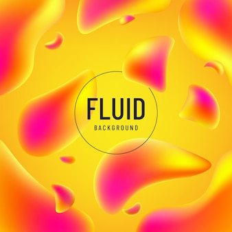 Forme abstraite de couleur jaune rose et orange fluide avec espace de copie.