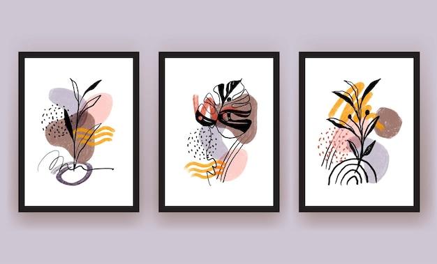 Forme abstraite et feuille boho clipart minimaliste moderne
