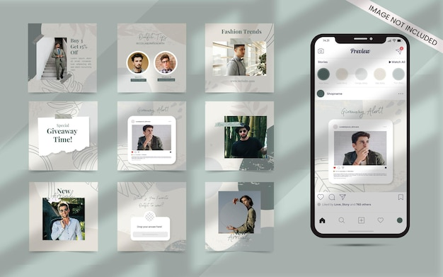 Forme abstraite organique pour l'ensemble de publications de médias sociaux de bannière de promotion de vente de mode instagram