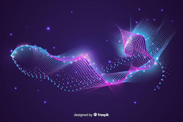 Forme abstraite rougeoyante de fond de particules