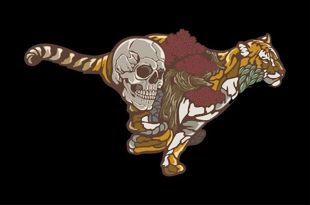 Forme abstraite de tigre et de crâne en cours d'exécution isolée sur fond noir