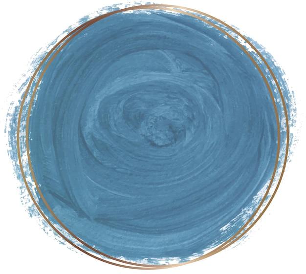 Forme aquarelle bleue avec cadre de ligne dorée