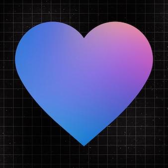 Forme d'autocollant de coeur, vecteur de clipart plat d'amour