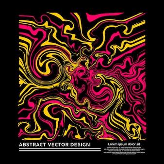 Forme de boîte d'art abstrait liquide avec un mélange de peinture jaune et rose