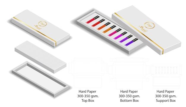Forme de boîte de papier pour le paquet de rouge à lèvres dieline