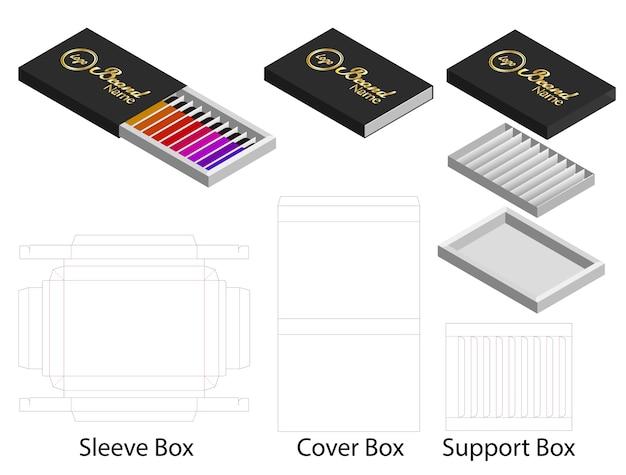 Forme de boîte de papier pour des rouges à lèvres paquet dieline