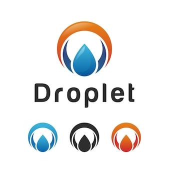 Forme de cercle avec logo de gaz de pétrole, goutte d'eau nature, création de logo de gouttelettes