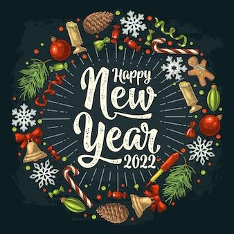Forme de cercle sertie de lettrage happy new year 2022 gravure de couleur vintage de vecteur sur fond noir