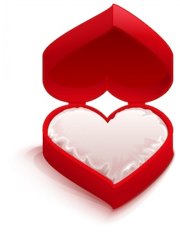 Forme de coeur de boîte ouverte rouge