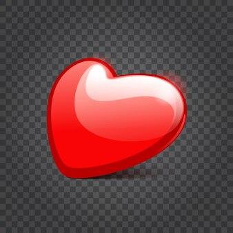 Forme de coeur brillant rouge isolé sur l'illustration de la transparence