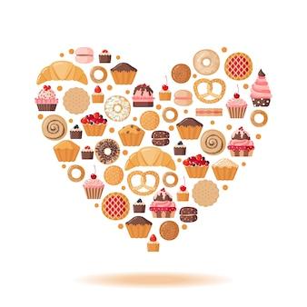 Forme de coeur avec diverses pâtisseries.