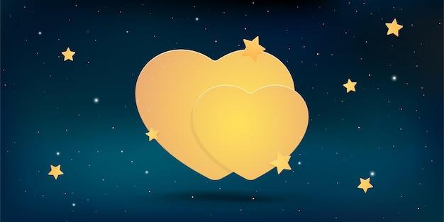 Forme de coeur avec des étoiles sur fond de ciel
