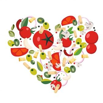 En forme de cœur avec des ingrédients méditerranéens.