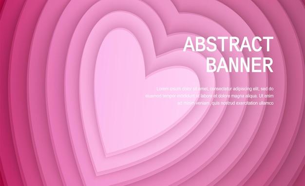Forme de coeur de papier de couleur rose carte de voeux de bannière réaliste de vacances de la saint-valentin