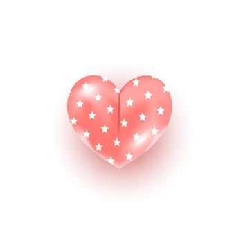 Forme de coeur rose avec motif de décoration étoile sur blanc