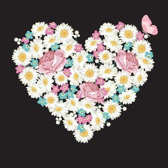 Forme de coeur. roses, camomille et fleurs myosotis