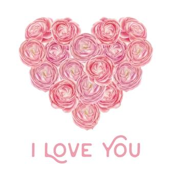 Forme de coeur de roses roses