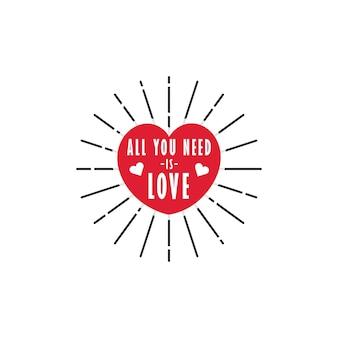 Forme de coeur rouge avec tout ce dont vous avez besoin est amour typographie lettrage mot art à l'intérieur vecteur gratuit