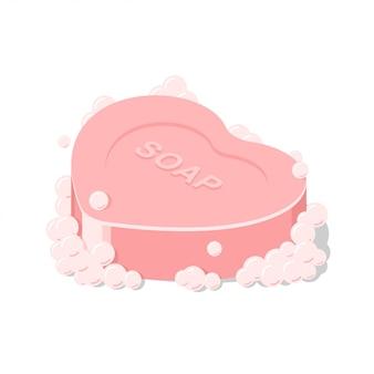Forme de coeur de savon rose isolé de vecteur