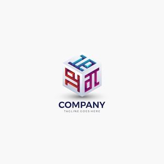 Forme de cube abstrait couleur vive pour la technologie, les affaires, l'entreprise. modèle de conception de logo.