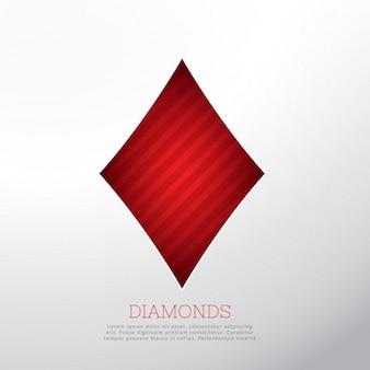 Forme de diamant rouge isolé sur fond blanc