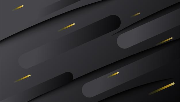 Forme dynamique abstraite dégradé sombre avec des lignes dorées. composition 3d géométrique minimale.