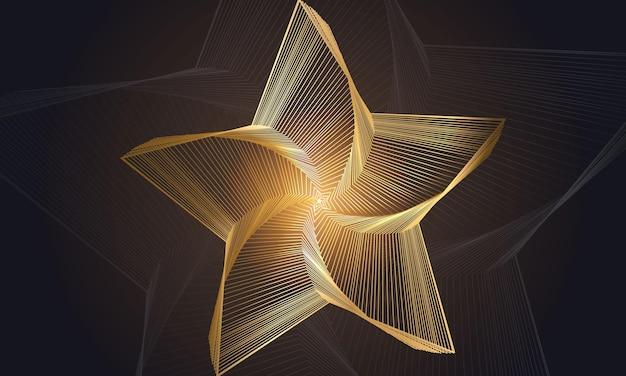 Forme d'étoile dorée de luxe abstraite à partir de lignes sur fond noir